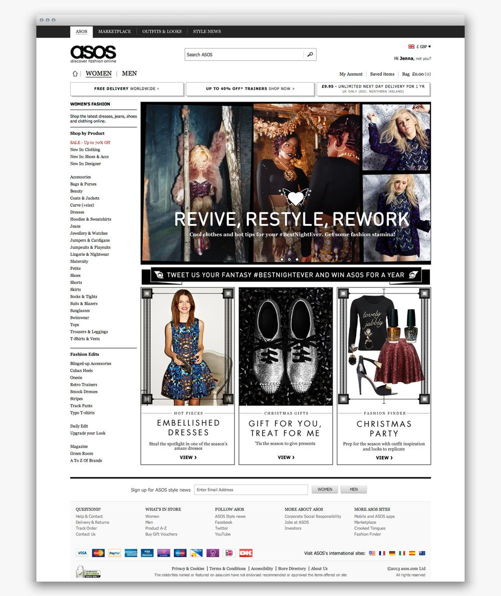 ASOS Womenswear homepage during the #BestNightEver campaign
