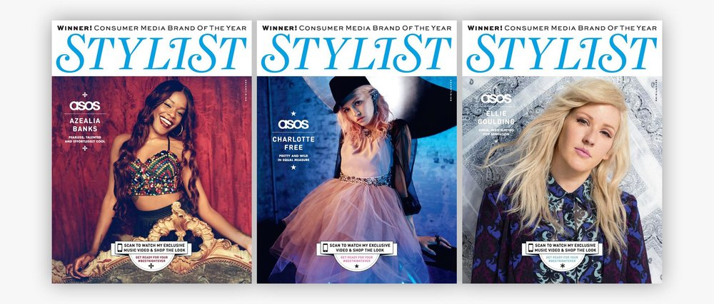 ASOS Womenswear #BestNightEver Stylist Magazine scanable / interactive covers