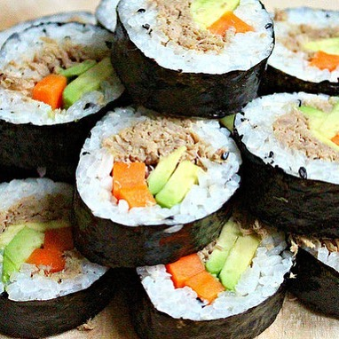 """Trying out kimbap for the first time! Yum! One of my resolutions for 2018 is to explore new cuisines. Being a """"burger and French fries"""" addict for 20 yrs+, my palate needs life  #foodiefriday #acupuncture #orlando"""