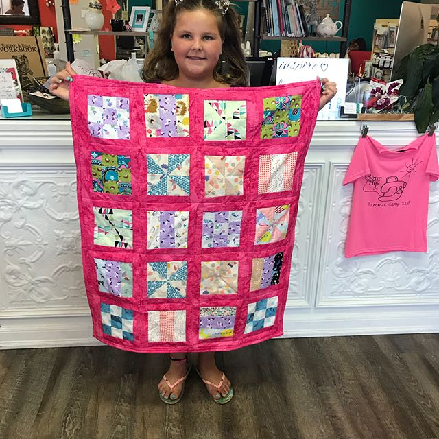 It was a long week but we made it!!! Completed our quilts in 4 days!! These kiddos picked fabric, pieced three different block styles, added sashing, backing, quilted and bound in 16 hours. Way to go!! #kidssewingtucson #sewingcamp #kidsquilting