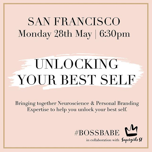 AHHHH!!! 🤣 So so excited to announce our first Bay Area event in May. ❤️ Come hang out with me as we bring together neuroscience and personal branding expertise to help you unlock your BEST self. 💫 Tickets are limited and our events sell out quick, so please grab yours ASAP if you know you want to come. 🥂 LINK IN BIO! - - - - -  #bossbabe #bayarea #silliconvalley #bossbabes #thebossbabesociete #girlboss #womeninbusiness #femaleentrepreneurs #neuroscience #happiness #purpose #success