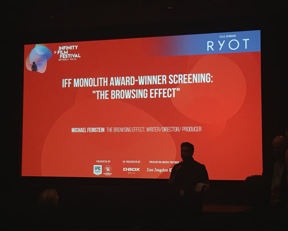 Writer/Director Michael K. Feinstein accepting the Monolith Award at The Infinity Film Festival