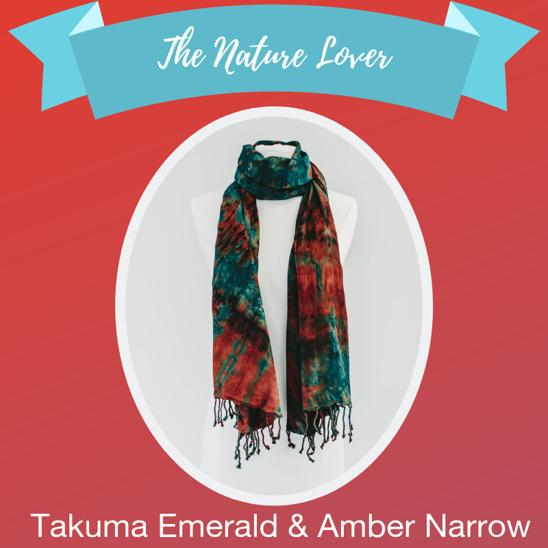 - They love the great outdoors and spend their time on week-long camping trips. Their love of Mother Nature spans from a thriving garden in their cozy home to daredevil climbing feats. It seems they were put on this earth to stay in touch with it. The Takuma Emerald & Amber scarf bring their love of nature's beauty to their closet. With earthly tones of amber brown and forest green on the softest fabric, it's the perfect accessory for any nature lover's collection.Shop →