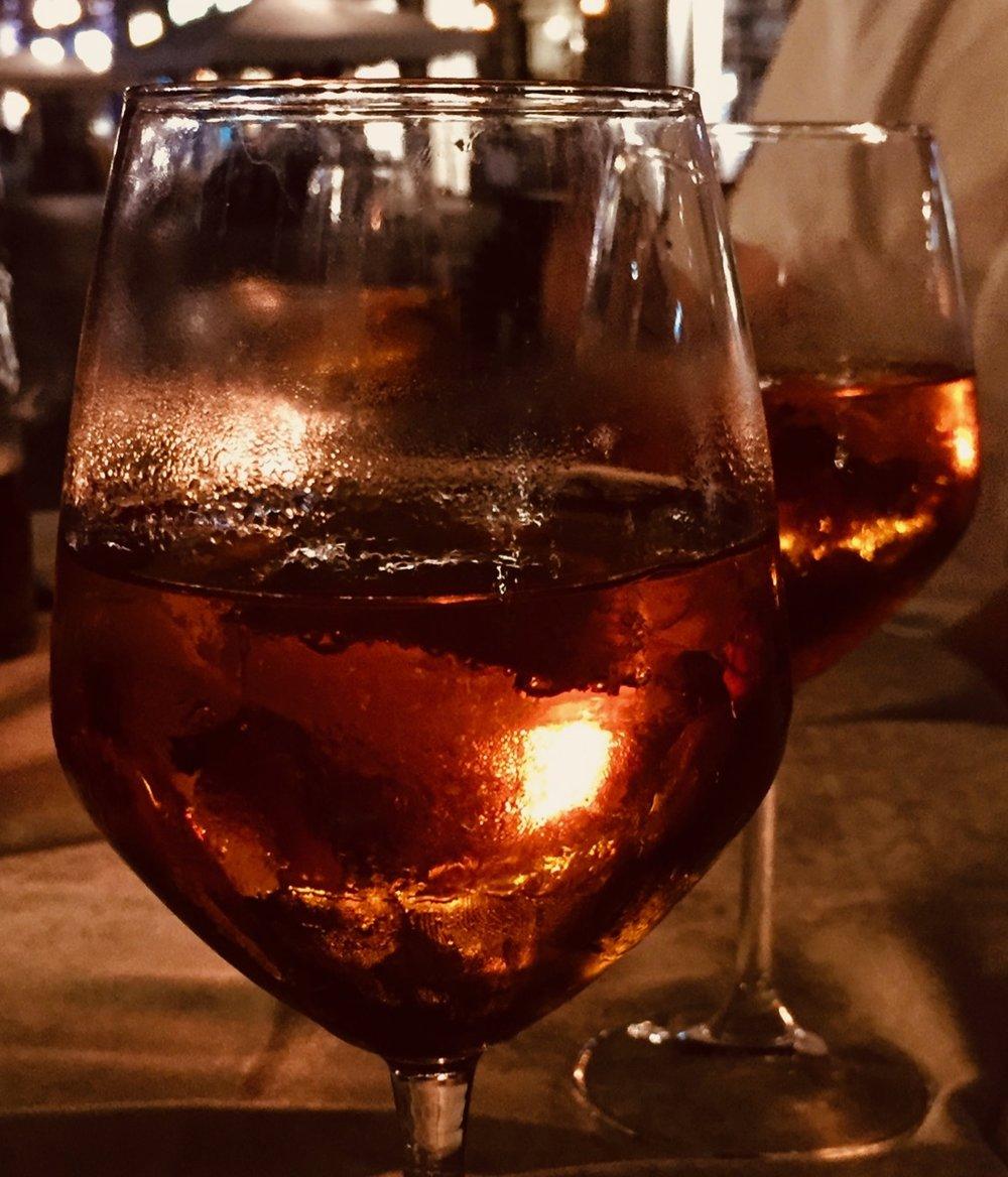 A celebration of patent research in Milano, finished with an Aperol spritz. - Photo by Cathy Chiba, 2019.