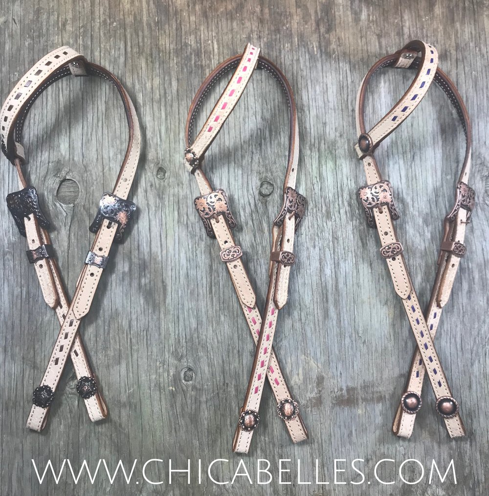 Roughout Headstalls with buckstitching in either pink, purple or brown.