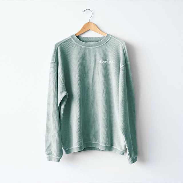 Now available for pre-order!!! For your fall yoga classes, cozy brunches, campfire evenings, and lake house weekends. Yeah, all our favorite things, too. Introducing the Elsewhere corded crew sweatshirt. Luxurious feel in the prettiest Bay green color. Pre-order yours at the link in our bio / be-elsewhere.com/shop.
