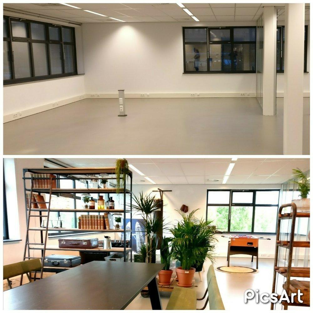 moderne kantoorruimte licht eetruimte stoere kast display planten voor en na before after.jpg