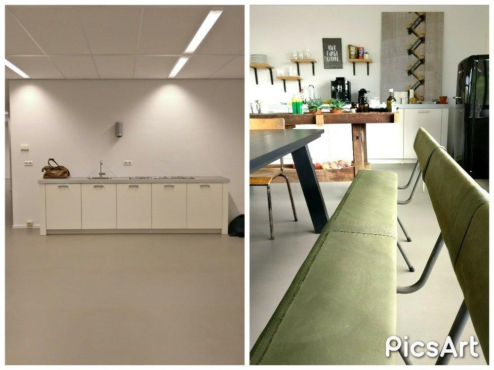 moderne kantoorruimte licht keuken industrieel legerbank voor en na before after.jpg