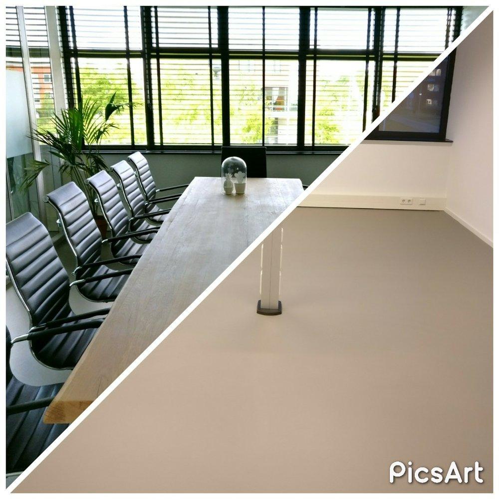 moderne kantoorruimte licht vergaderruimte boomstamtafel eames chair planten voor en na before after.jpg
