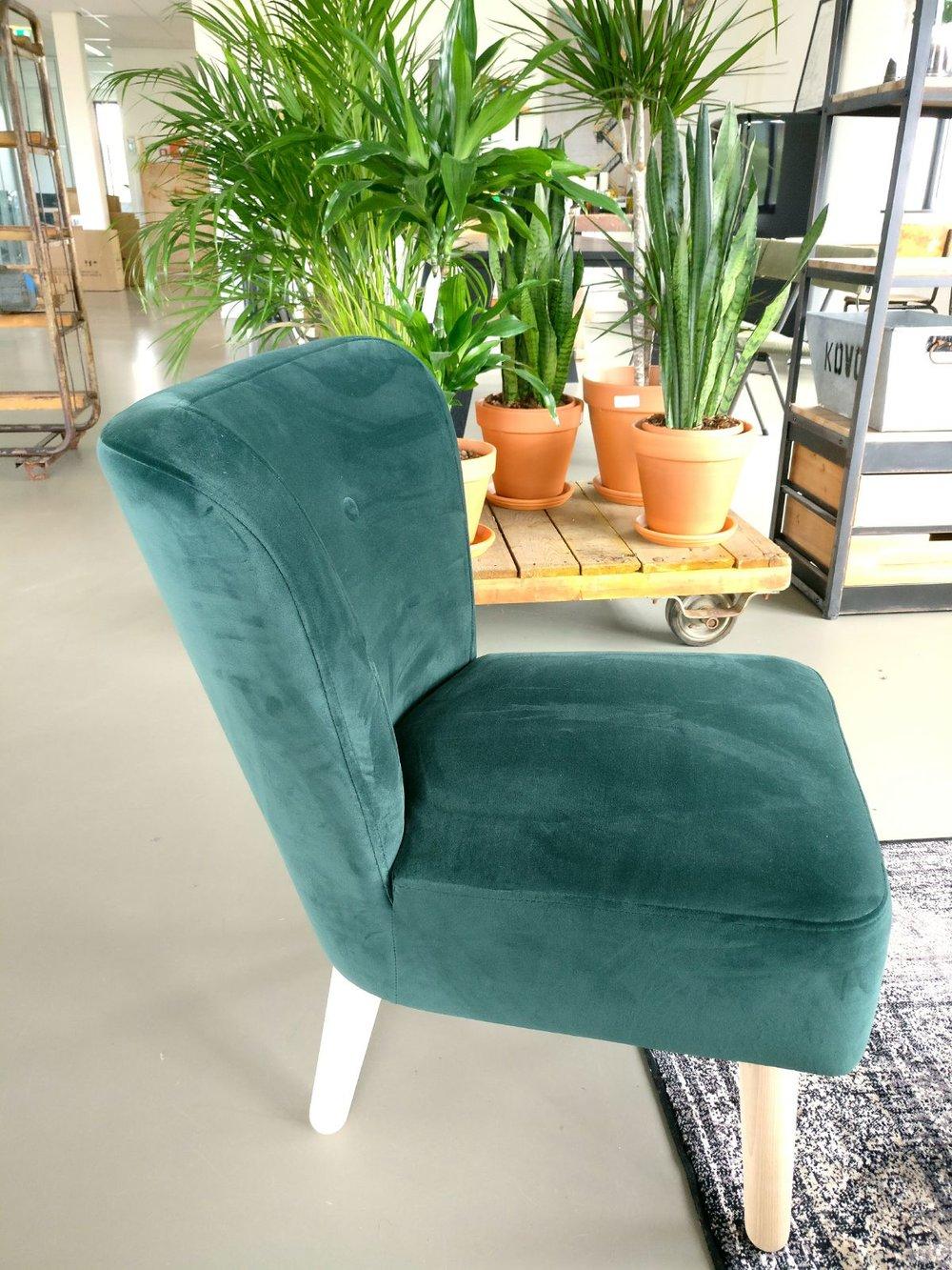 moderne kantoorruimte velvet stoel fluweel licht en planten trolley urban jungle.jpg