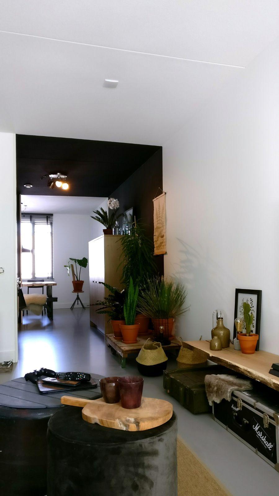 appartement nieuwbouw accessoires industrieel stoer autoband formule 1 bijzettafel doorsnede boomstam zwarte keuken.jpg