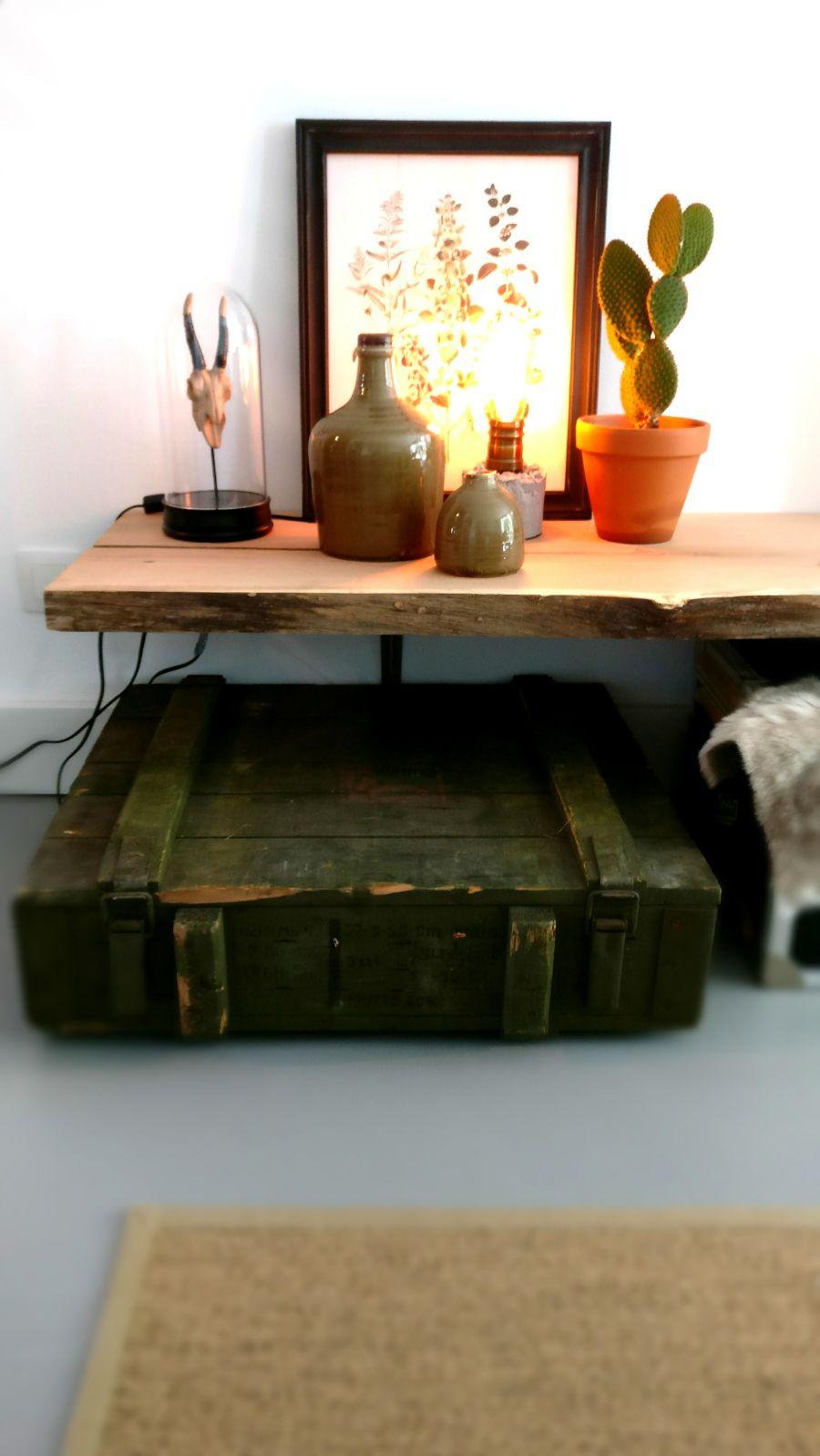 appartement nieuwbouw industrieel stoer vintage koffers kisten legerkist doorsnede boomstam.jpg