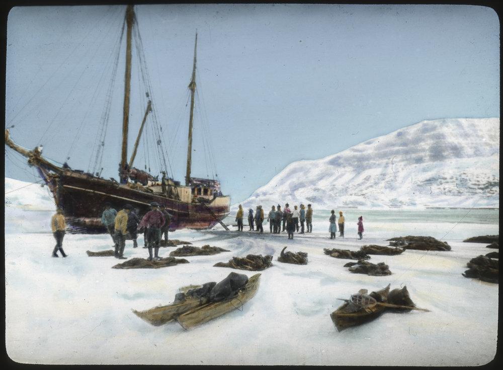 Sailing ship on ice near Disco Island