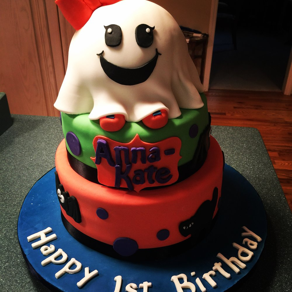 Baby Ghost October Birthday Cake