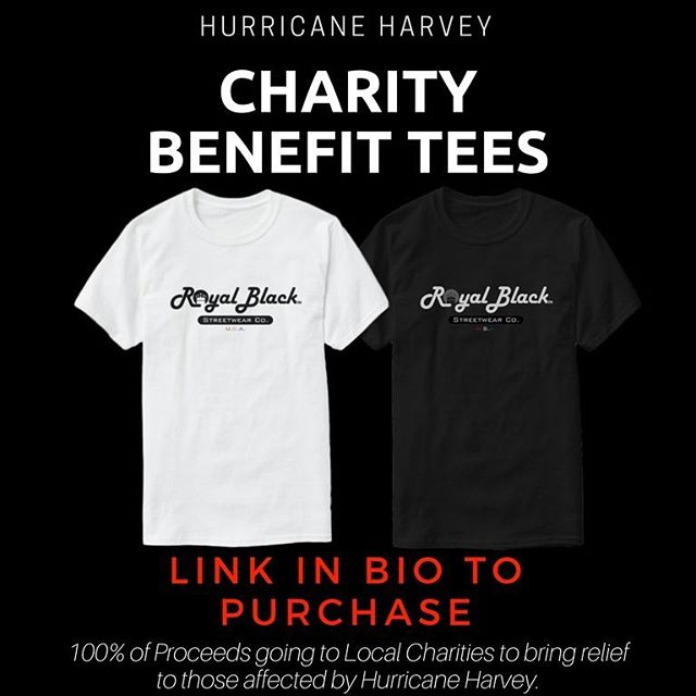 Royal Black Co. has put together an effort to support those who have lost everything in Hurricane Harvey. • • • • • • • • • • • • • • • • • • • • • • • • • • • • • • • • #fundraiser #charity #clothing #streetwear #advertisement #fashion #style #hurricaneharvey #relief #support #sales #shirt #tee #charitysupport #goodcause #100% #royalblack #clothes #new #brandnew #help #cometogether