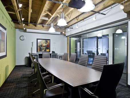boardroom with exposed beam ceiling