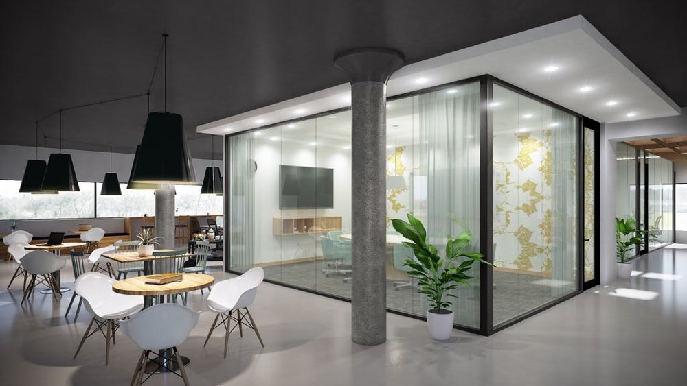 hot desks and glass offices