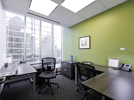 office configured for two people with large window