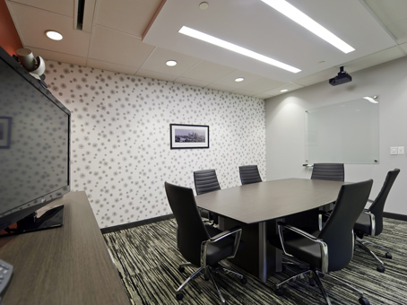 internal meeting room with video conference setup