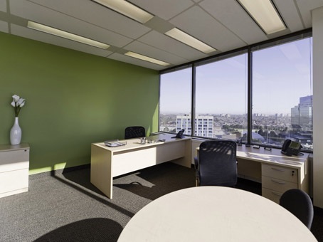 cool office view with round table