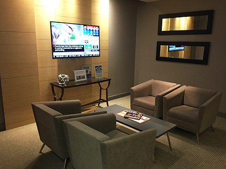 relaxing gray sofa lobby