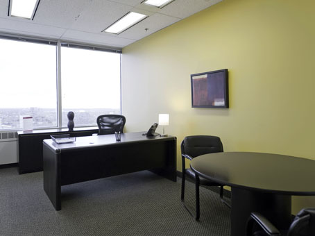 black wooden table and wide window office