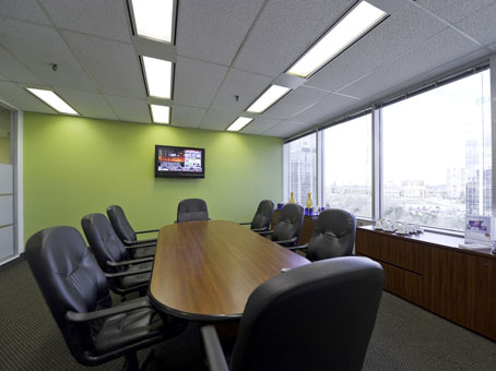 fully window view with a long table meeting room