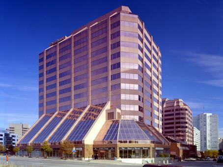 unique shape fully glass building view