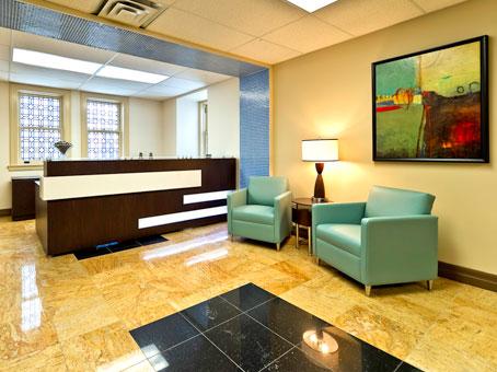 leather light blue sofa in a reception area