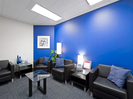 black leather sofa with blue wall