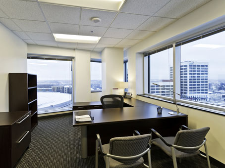 a beautiful full glass executive office view