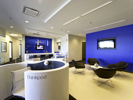 white rounded chairs in a blue painted wall  lobby