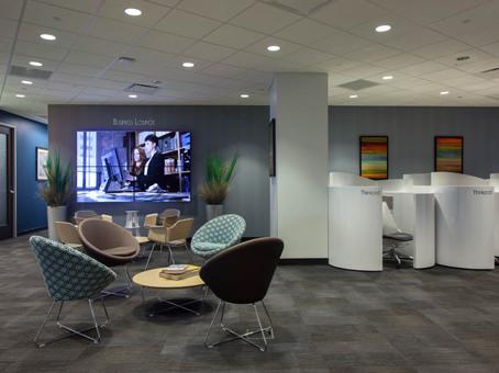 chairs with big LED flatscreen TV
