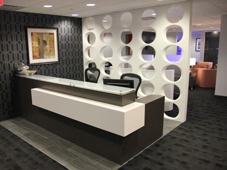 receptionist counter with painting
