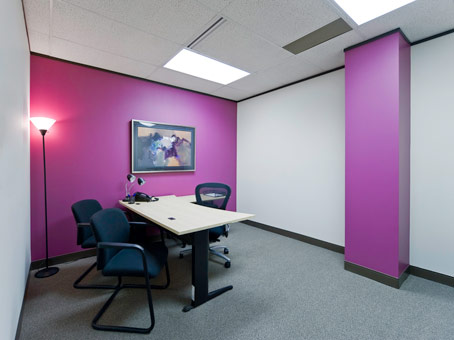 pink and white walls with painting