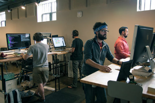 office equipped with standing desks