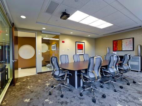 meeting room with sliding glass door
