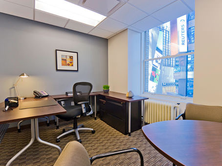 executive office with a wide glass window