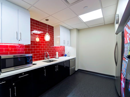 white wall with red tiles wall pantry
