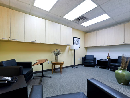 cabinets and chairs with tables