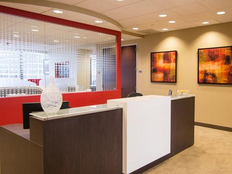 brown and white receptionist desks
