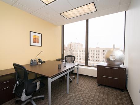 window view with brown desks