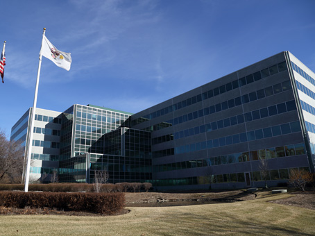 building view with country flag