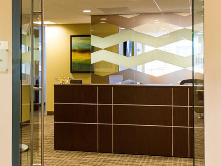 brown receptionist desks