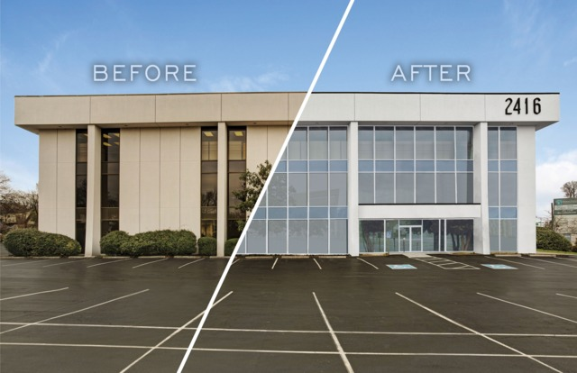 before and after office building