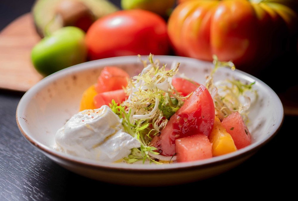Burrata with Watermelon + Black Garlic from Chef Jean Delgado