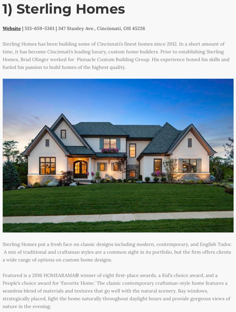 We are honored to be ranked as the 1st Best Custom Home Builder in Cincinnati by Home Builder Digest. -