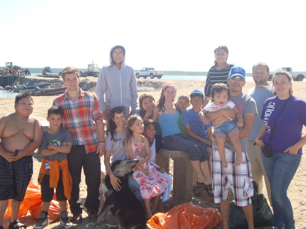 Summer of 2012, group participants as well as Fond Du Lac, Saskatchewan community members – returning from a swim!