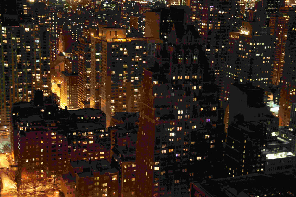 Manhattan buildings at night