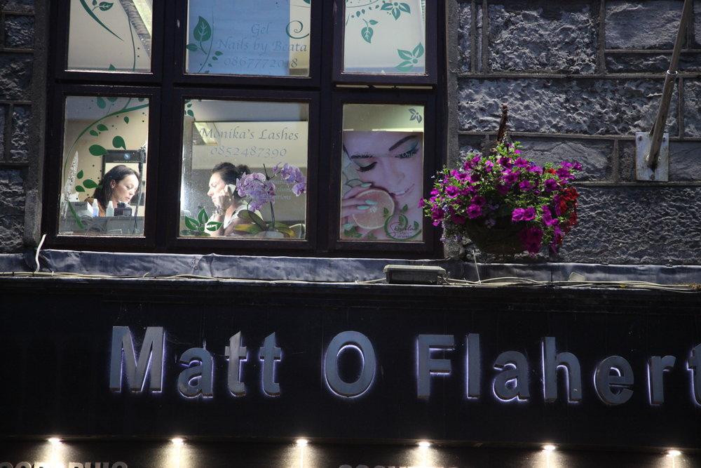 Ireland nail salon at night